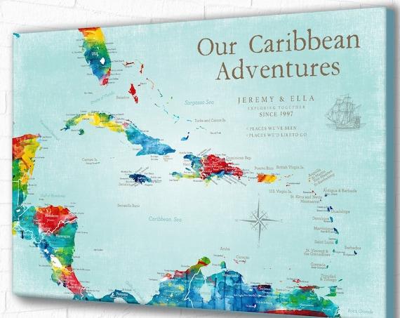 Caribbean Push Pin Map, Pretty Travel Map, Personalized Bucket List Map, Caribbean Cruise Family Reunion, Honeymoon Souvenir map, Canvas map