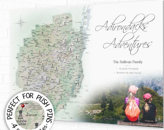Adirondacks Map, Personalized Hiker Gift, Mt Marcy, Lake Placid, High Peaks Push Pin Map, Print, Canvas Adirondack Park, Hike enthusiast map