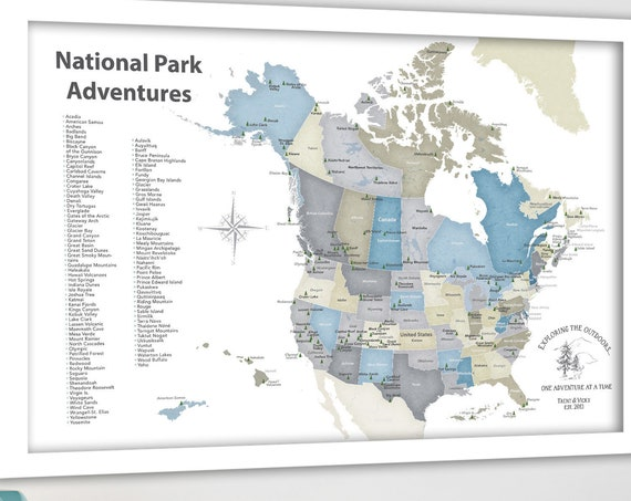North American National Parks map Print or Push Pin maps, List of Parks, Map for Outdoor Active Family Gift, Camper Decor, Van Wall Art Map