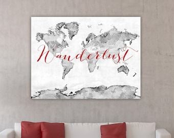 Red world map etsy wanderlust canvas print red and gray world map red world map grayscale gumiabroncs Gallery