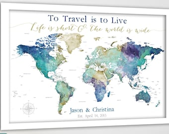 Gift for Wife, Framed World Map Push Pin Travel Map with Names & Date, Canvas Wall Map with Personalized Travel Print, Family Adventure Map
