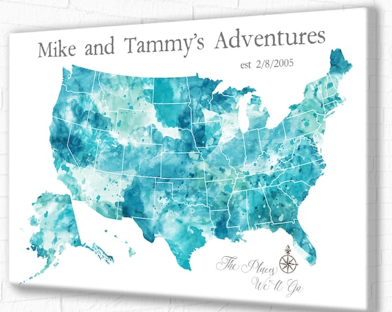 Large USA Push Pin Map, Canvas, Poster or Digital Download, Turquoise Watercolor USA map. Incl Free Personalized Names, Quote or Map Legend
