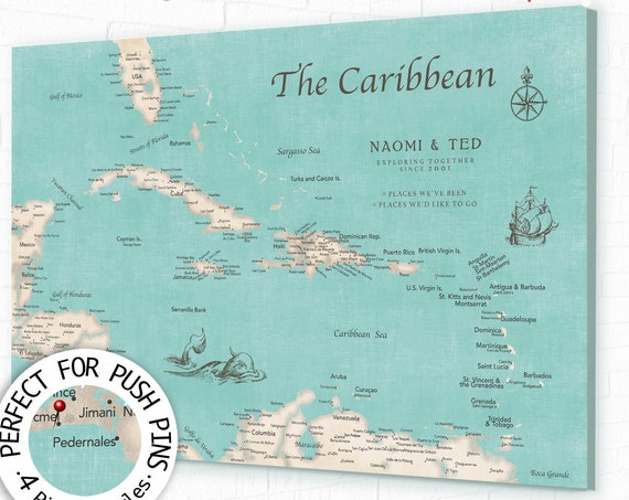 Personalized  Push Pin Map of Caribbean with Frame or Ready to hang Canvas Pin Map, Island Sailing Adventures, Caribbean Cruise Island Map