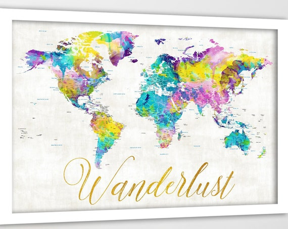 Wanderlust World Map. Perfect gift for girlfriend, Going to College, Dorm Wall Art. Push Pin Travel map poster, canvas or framed map avail.