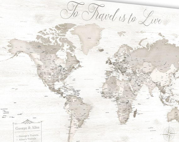 Anniversary Gift for Wife, Romantic Travel Map Wall Art. Personalized with ANY words and map legend. World Map with USA states extra detail