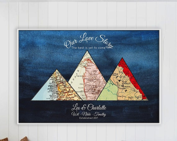 Long Distance Relationship Gifts, One Year Wedding Anniversary Gifts for Girlfriend, First Anniversary,  Long Distance Girlfriend Map Gift