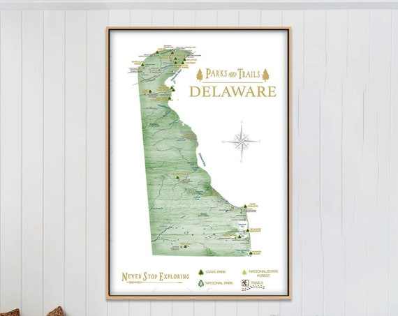 Hiking in State Parks, Delaware Adventure Map, State Parks Print & Mountain Hike Trails, Hiking Gift, Personalized Delaware State Map Poster