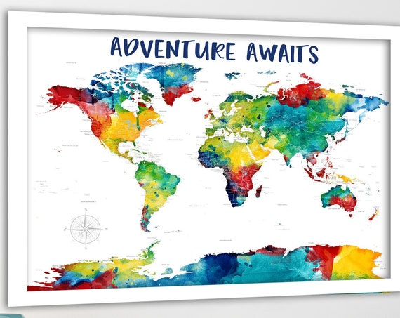 Personalized Family Gift, Brightly Colored World Map, Push Pin Map of World, Gift for Boyfriend, Travelling Gift Wanderlust Travel Lover