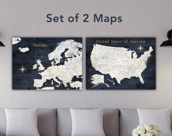 Europe and USA Map Set, Map Poster Print or Mounted Push Pin Maps with Optional Personalization, Title & Legend and Names, Gift for Husband