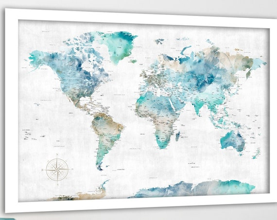 Travel map for Push Pins, World Pin Map, Foamboard for pins, Print, Canvas Map, Personalization, Aqua Blue Map, Gift for Wife Travel Quote