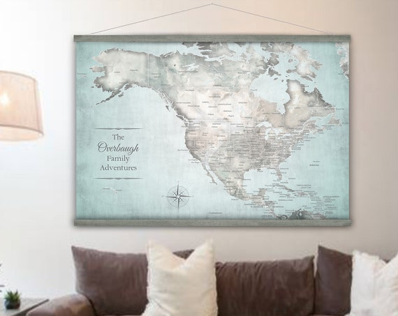 Large North America, Canada, USA and Caribbean Island Map - Travel Canvas