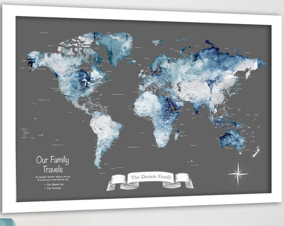 Family Travel World Map, Personalized Family Print, Large Map Print with Legend, Romantic Anniversary World Map for Push Pins with Names