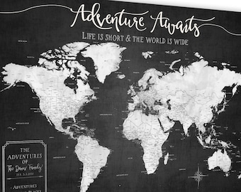 Push Pin World Map, Modern Push Pin Mounted Canvas Map Board, Best for Push Pins, Large Grayscale World Map with Legend Personalization Map