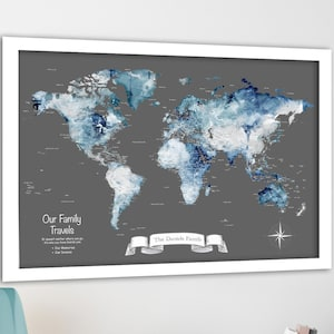 Opt to add key Poster or Push Pin World Map Boys Bedroom Wall Art Adventure map for kids Detailed to suit teens /& future travels Canvas