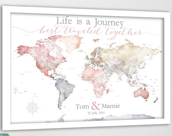 Anniversary World Map. Push Pin map Detailed USA states and cities. Romantic Travel Map with Names and Date, Framed world map Gift for wife