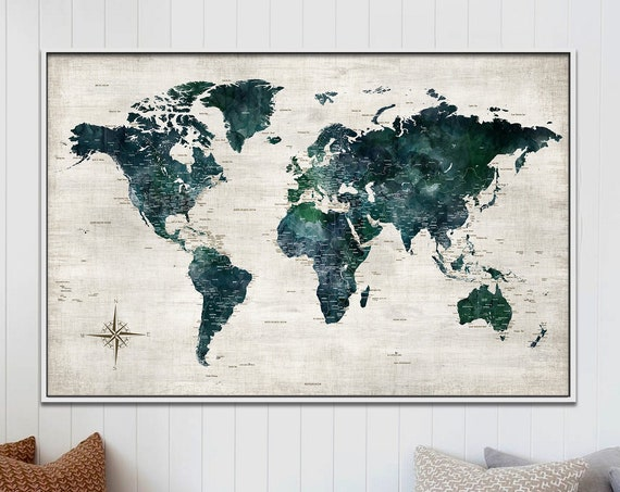 Framed Canvas Push Pin Map, Farmhouse Wall Art, Customized World Map Travel Art, Personalized Family Canvas, Green Rustic Map Print  for Him