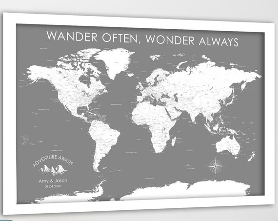 Minimalist World Map with detailed labels, Gray and White Wall Art, Personalized Push Pin Map, Canvas, Print. Housewarming Gift Travel Theme