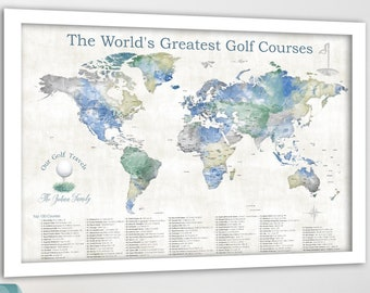 Top Golf Courses World Map. Push Pin Golf Quest Map, Mark Golfing Travels, Personalization for Golfers, Large Print, Retirement Golf Gift