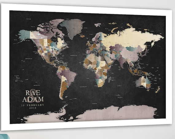 Framed World Map, Personalized Text, Canvas Art Jewel Colors, Detailed Map for Push Pins Add Own Wording, Family Travel Adventure Pin Map