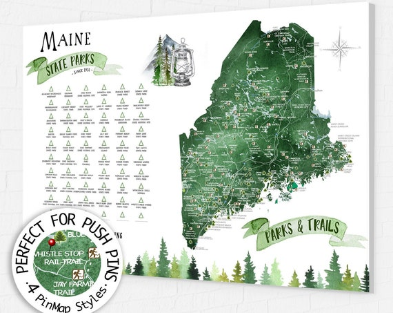 Maine State Park Map Gift, Maine Hiking Map, State Park Checklist for Maine, ME State print, New England Hiking Trails Push Pin Map Board