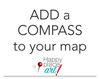 Custom Map with Compass, Map and Compass, Push pin map with compass, Travel map, Personalised Map