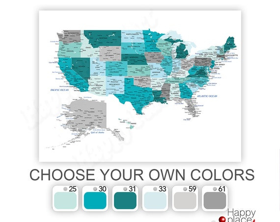 Large USA Map, Aqua and Gray Map, Detailed USA map, Educational United States Map, Cities and States labelled, Push Pin Travel map of USA.