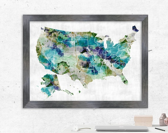 Very Large USA Map, Watercolor Khaki & Teal, Watercolor USA map, travel map, heart map, usa Push Pin map idea, US state, Personalized us map