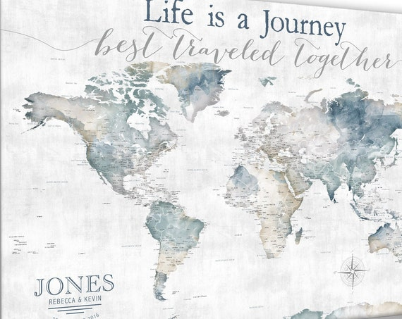 Life is a Journey Best Traveled Together, World Map for Adventure Push Pin Map Legend, Watercolor Map Print, Canvas, Anniversary Pin Map