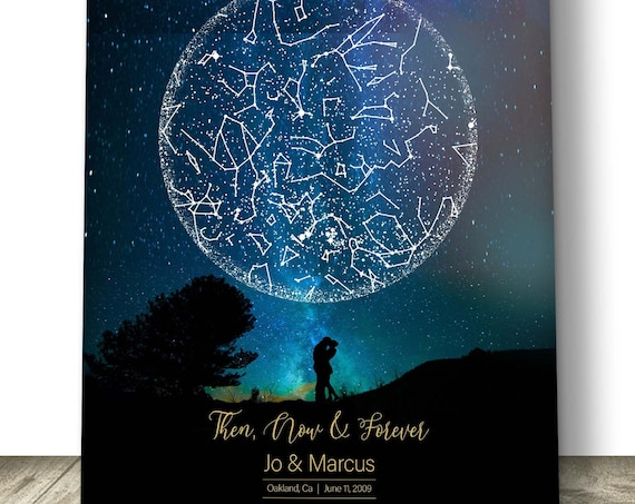Custom Star Map Print Anniversary gift for Couple, Under these Stars Personalized,