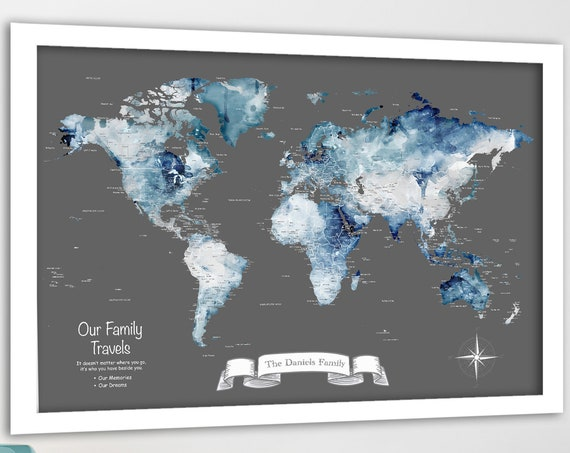 Large Push Pin Map, Man Cave Adventure Canvas, Poster or World Map Print for Traveling Family. Personalized Watercolor Map, Gift for Husband