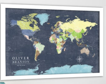 Boys Bedroom Wall Art, Canvas, Poster or Push Pin World Map, Adventure map for kids, Detailed to suit teens & future travels. Opt to add key