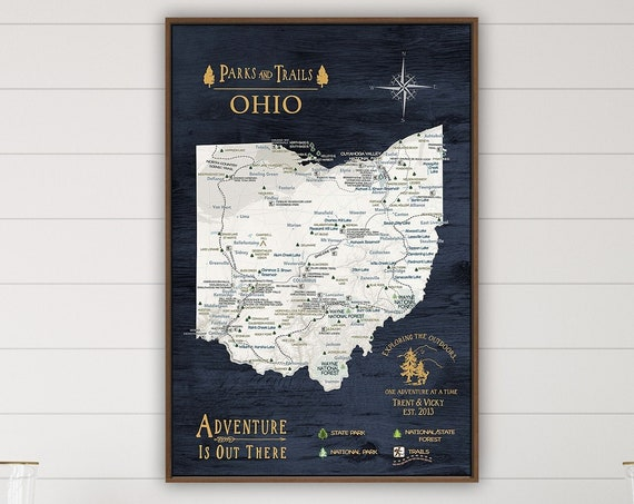 State of Ohio Map, Navy Map State Parks List, Hiking Trail Gift for Boyfriend, Push Pin Ohio State Print, Personalized Hiking Canvas Gift
