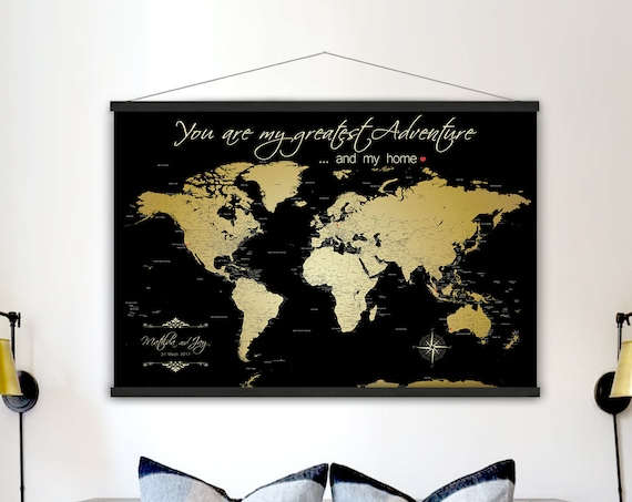 Gold World Canvas Map, Map Large size, Art Map Print, Canvas Map of The World, County and city labels, Anniversary Map, Happy Place Art Map