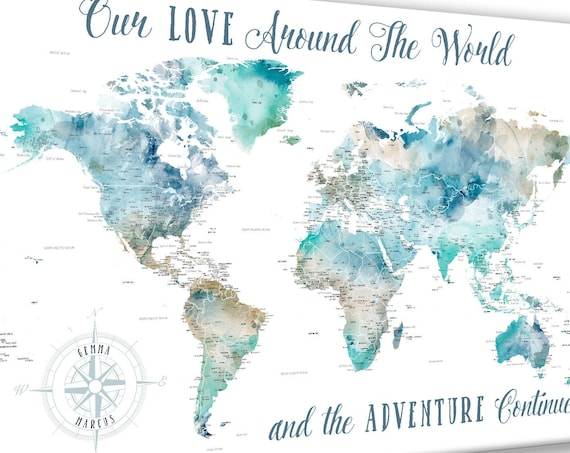 World Map Gift for Husband, Personalized Legend, Adventure Quote, Customized Anniversary Gift for Partner, Travel inspiration Push Pin Map