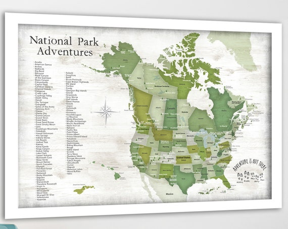 Push Pin Map North American National Parks Map Poster, Canvas, Print or Push Pin Park Map, Personalized Hiker Gift, Camper Wall Art Park Map