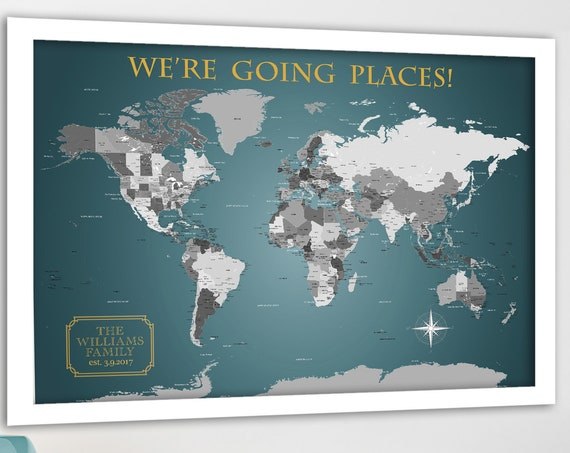 Teal and Gold Neutral World Map with detailed cities, Family Travel Map Personalized Wording World Map Foam Mounted for Push Pins or Poster