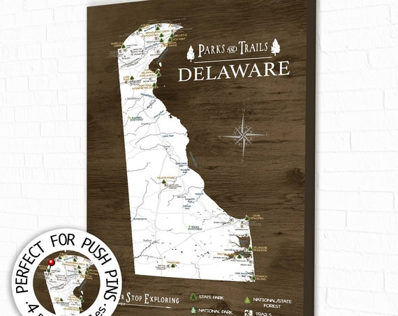 Delaware Adventure Map, State Parks & Hike Trails, Gift for Husband, Personalized Delaware State Map, State Park List Canvas Push Pin Map