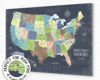 Personalized USA Push Pin Map for Family Travels