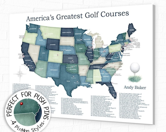 Top 100 Golf Courses Map of USA, Gift for Dad, Personalized Golf-themed Canvas Print or Push Pin Map. Golfing Bucket List Map.