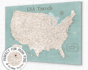 Modern USA Map with Vintage Look, Detailed USA cities for Push Pin Map, Canvas or Poster Wall Map of the United States for Family Adventures