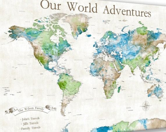 Family Adventure map, Personalized World Map Print, Push pin map of the world, Or Map of the World Canvas. Custom Key Legend Family Travels
