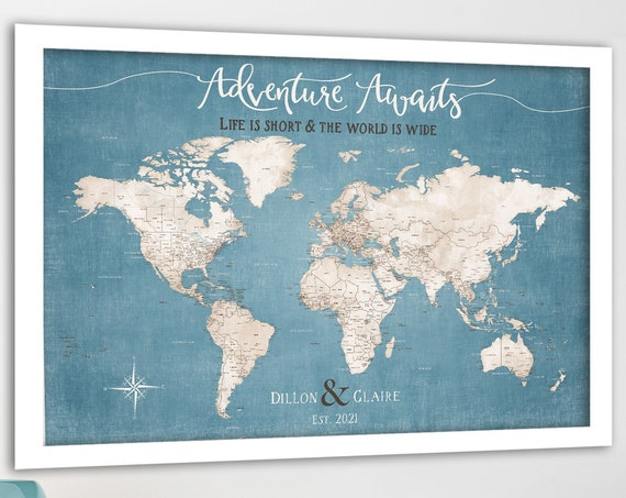 Framed push pin world map, Family Adventure map for pins - Personalized Travel Map of the World, also Large Giclee Print or Canvas Map & Key