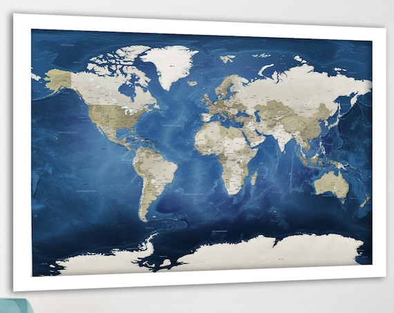 World Map Print, Detailed Educational Map, Push Pin Foam Mounted Map, Printable world map. Dark Blue and Brown, Pin Map, Geographical  map