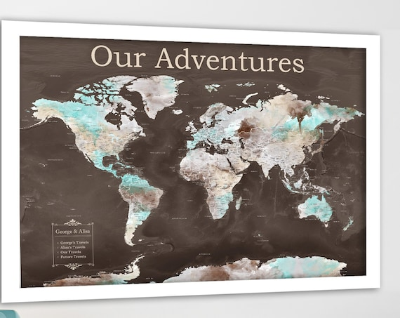 1st Anniversary Paper Gift or Canvas World Map with Legend, Personalized, Anniversary Gift for husband, Detailed World Wall Map Push Pin Map