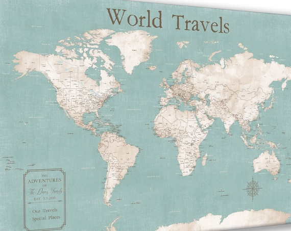 Push Pin Map of the World to Pin Travels. Personalize with a Custom Key Wording, Map Journal Travels, Anniversary Gift for Her World Canvas