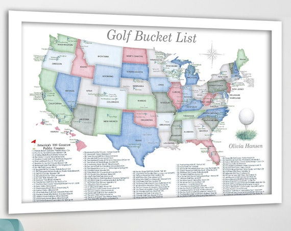 Gift idea for female golfer, Push Pin Map of Golf Locations in the USA, Americas Top 100 Public Golf Courses Map, Bucket List Golfing poster
