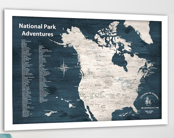 Canadian and US National Parks Map, Personalized Map with Quote, Gift for hiker, Paper Anniversary Gift, National Park Canvas, Poster Print