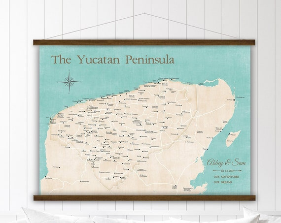 Yucatan Peninsula Map, Mexico Vacation, Personalized Mexico Travels Map, Cancun, Cozumel Adventures, Anniversary Map with Personalization