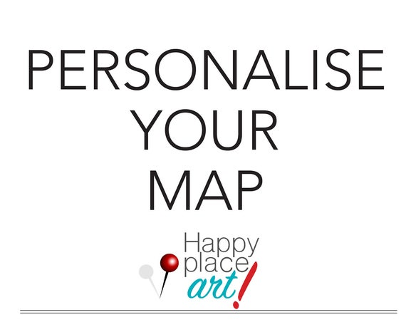 Personalized Map with quote, or message, Heart Map, Long distance BFF Map, Map with Hearts, Map Gift for Best Friend, Print for Grandparents