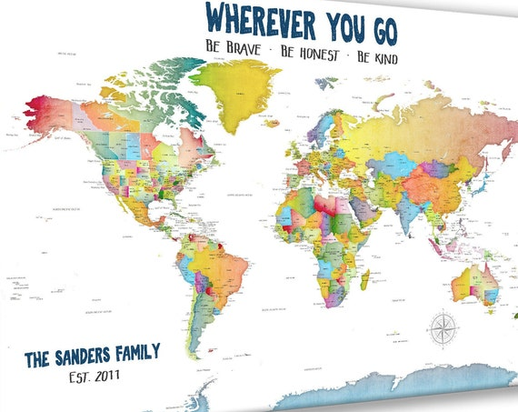 Personalized Family World Map, Colourful Map Print, Canvas Push Pin Map of World, Gift for Family, Traveling Gift, Wherever You Go, Be Kind